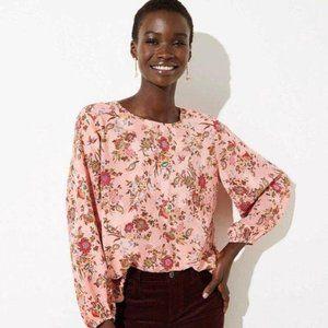LOFT Pink Floral Long Sleeve Top Blouse Medium